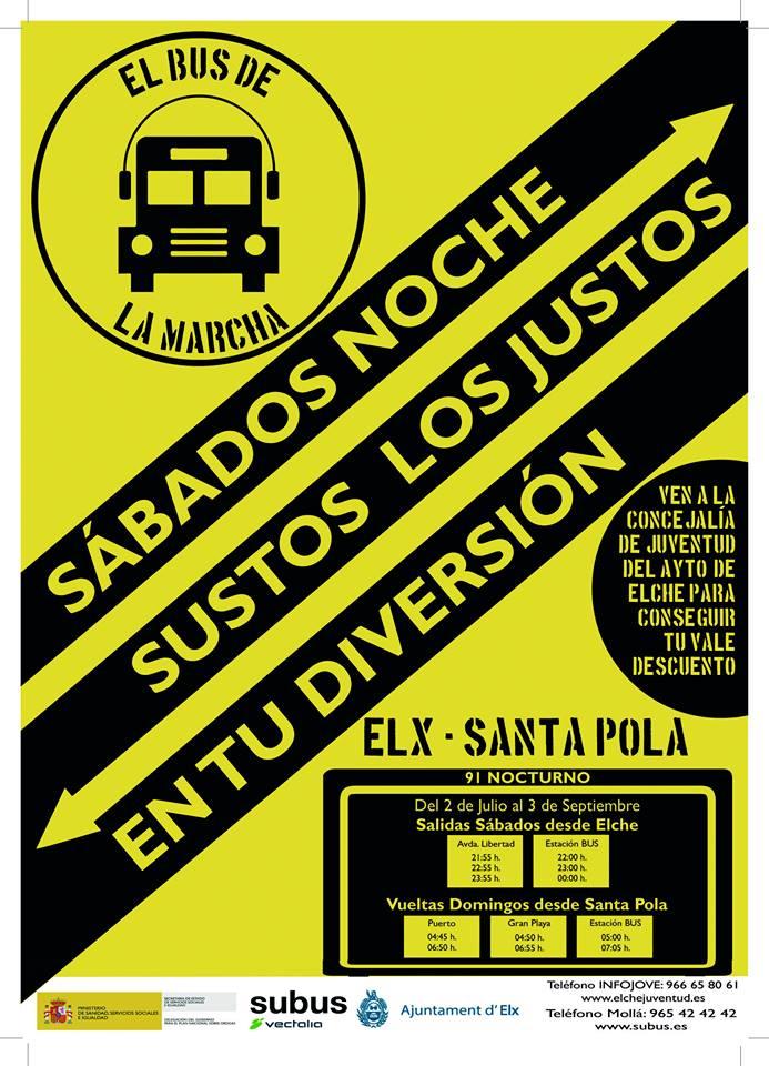 Bus de la marcha Elche-Santa Pola
