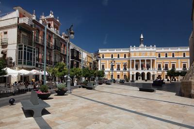 Spain, Extremadura, Badajoz, Plaza de España, Casa Álvarez-Buiza e Ayuntamiento