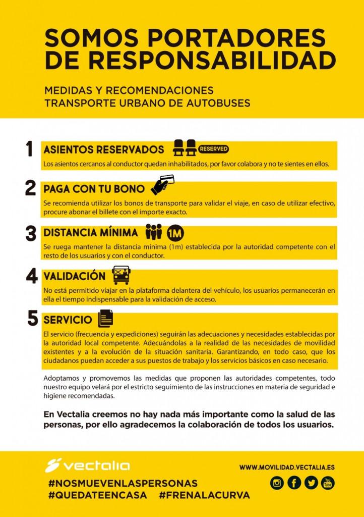 Recomendaciones para el uso del autobús durante el estado de emergencia del Coronavirus